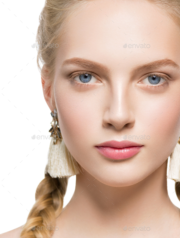 Woman with pigtails beauty healthy skin isolated on white blonde female. Isolated on white. - Stock Photo - Images