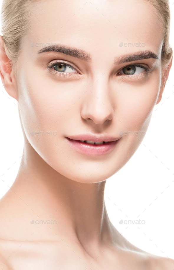 Blonde Hair Woman Healthy Clean Skin Portrait isolated on white natural make up. Studio shot. - Stock Photo - Images
