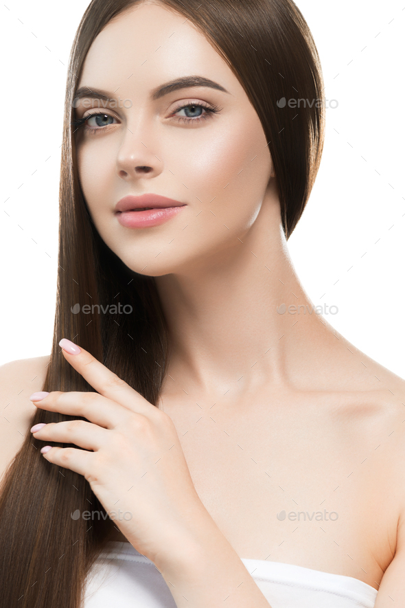 Smooth hairstyle girl beautiful skin care portrait. Isolated on white. Studio shot. - Stock Photo - Images