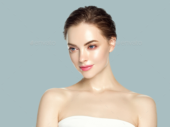Beautiful woman healthy skin care concept portrait close up gray background. Studio shot. - Stock Photo - Images