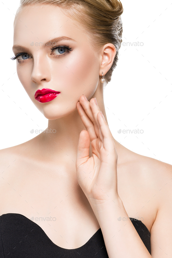 Woman red lipstick blond hairstyle black dress classic fashion. Studio shoot. Isolated on white - Stock Photo - Images