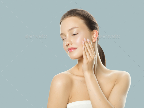 Beautiful woman healthy skin care concept portrait close up on blue  background. Studio shot. - Stock Photo - Images