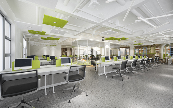 3d rendering business meeting and green working room on office building - Stock Photo - Images