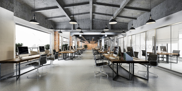 3d rendering business meeting and working room on industry loft style office warehouse - Stock Photo - Images