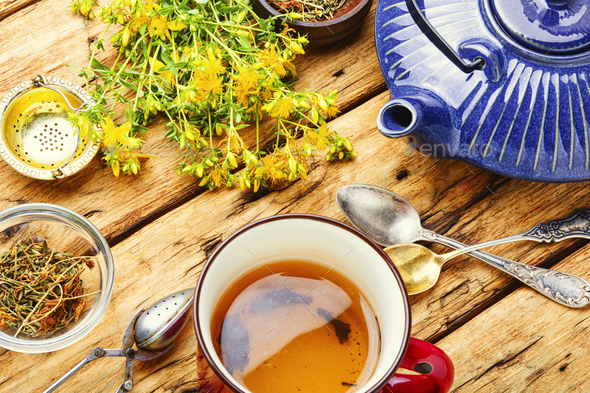 Herbal tea with hypericum - Stock Photo - Images