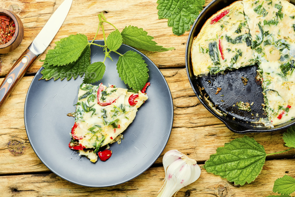 Italian omelet with herbs - Stock Photo - Images
