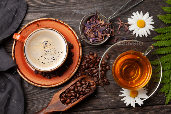 Herbal tea in teapot and cup and espresso coffee - Stock Photo - Images