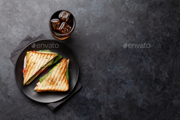 Club sandwich and cola - Stock Photo - Images