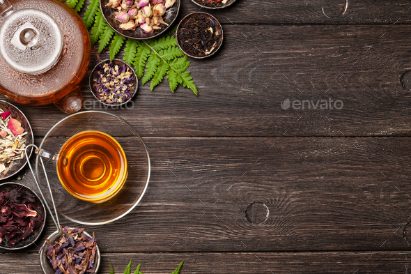 Various herbal tea, teapot and cup - Stock Photo - Images