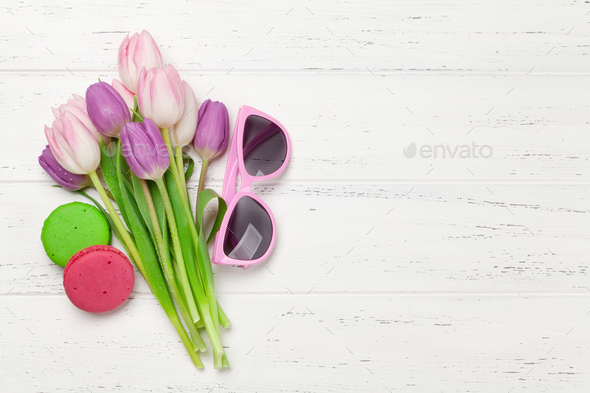 Tulip flowers and macaroon cookies - Stock Photo - Images