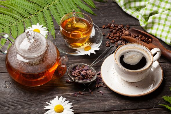 Herbal tea and espresso coffee - Stock Photo - Images