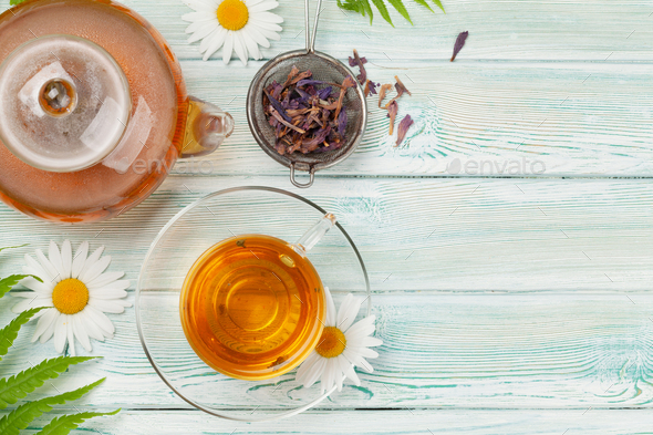 Herbal tea in teapot and cup - Stock Photo - Images
