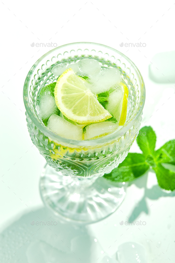 Fresh lemonade with mint and lemon in glasses - Stock Photo - Images