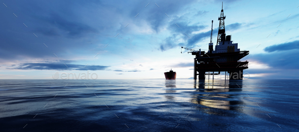 Oil platform on the ocean. Offshore drilling for gas and petroleum - Stock Photo - Images