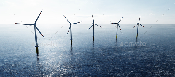 Offshore wind turbines farm on the ocean. Sustainable energy - Stock Photo - Images