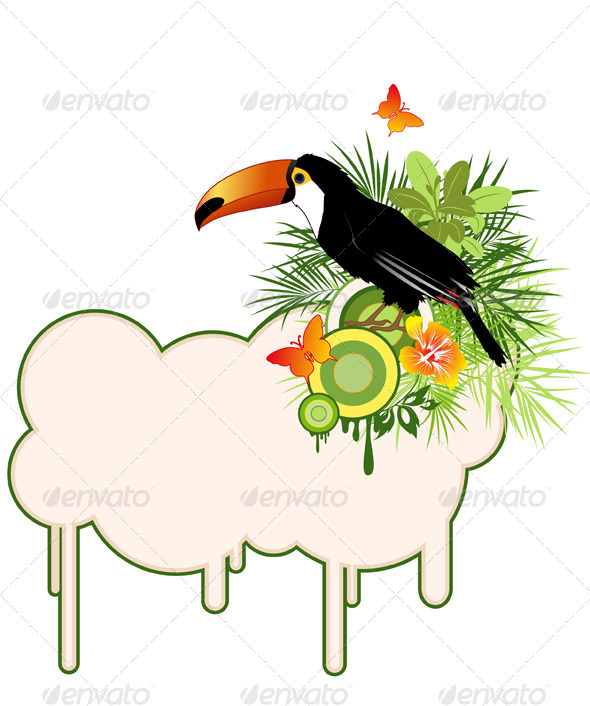 Tropical Bird and Palms - Animals Characters