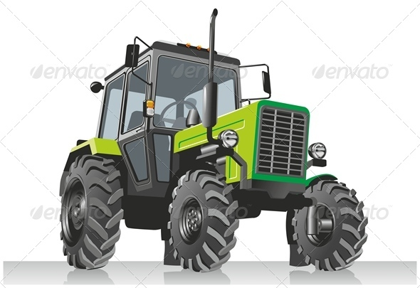 Vector Agricultural Tractor - Man-made Objects Objects
