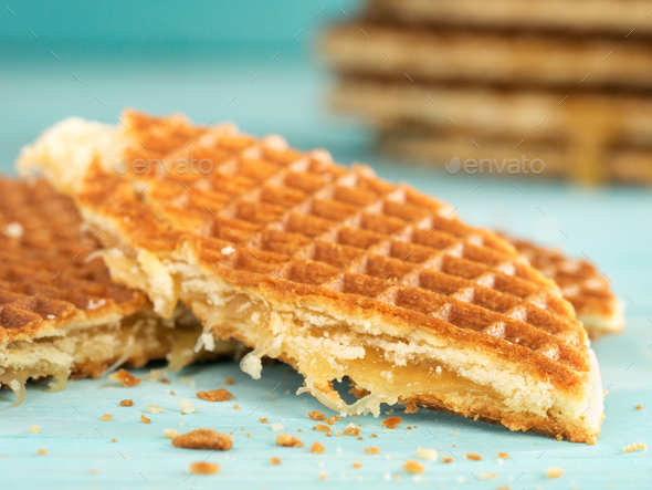 Stroopwafels or caramel Dutch Waffles - Stock Photo - Images