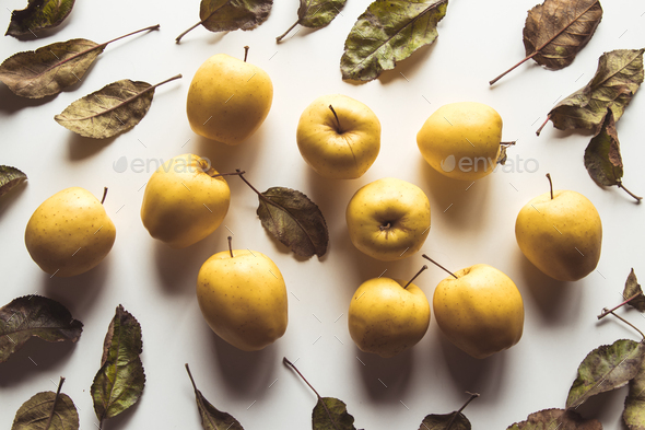 Yellow apples on a white background, wholesome food, farming, vegetarian - Stock Photo - Images