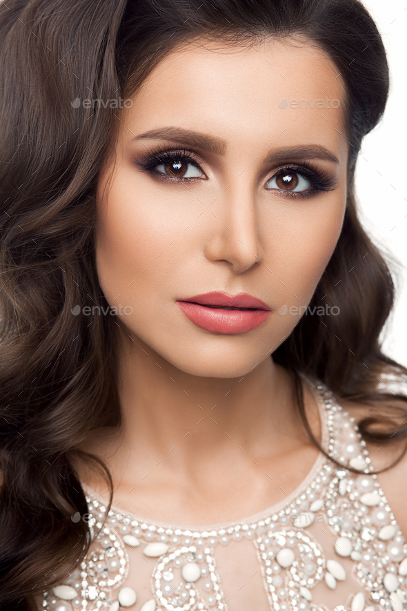 Beautiful brunette woman after beauty salon - Stock Photo - Images