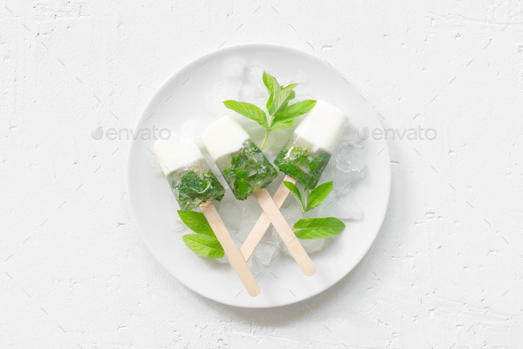 Frozen Yogurt with Mint, Fresh Ice Cream - Stock Photo - Images