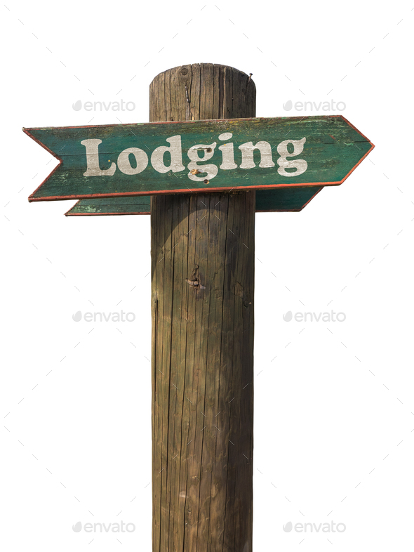 Rustic Wooden Lodging Sign - Stock Photo - Images