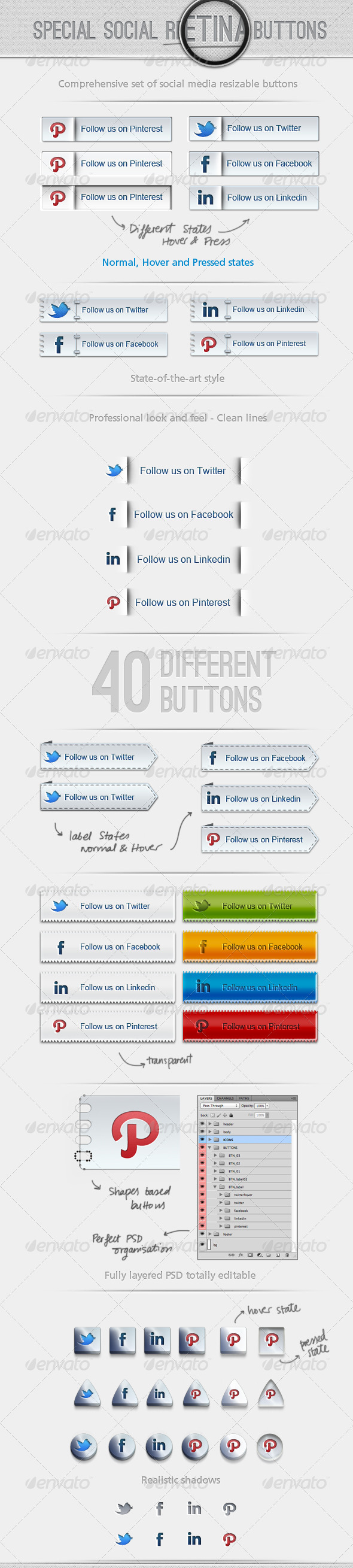 40 Special Social Retina Buttons - Buttons Web Elements