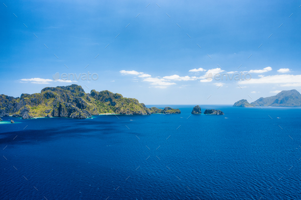 Aerial view of Bacuit archipelago. Miniloc island in background. Palawan, Philippines - Stock Photo - Images