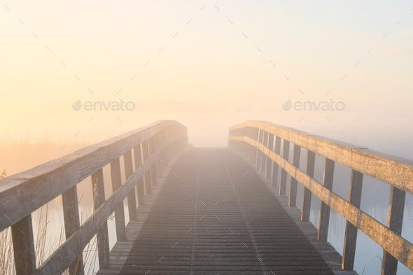 wooden bridge in dense fog at sunrise - Stock Photo - Images