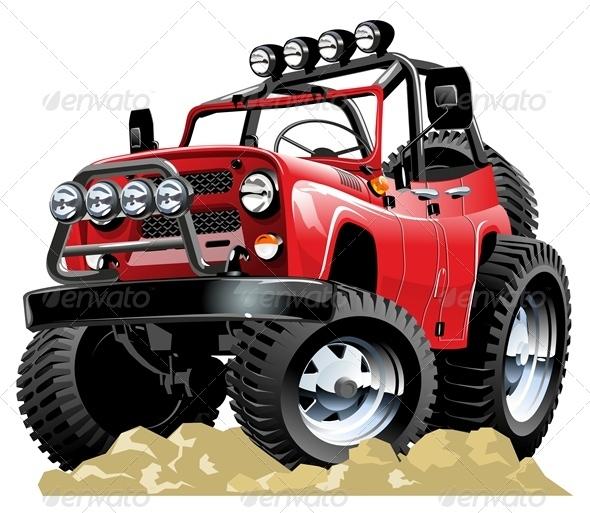 Vector Cartoon Jeep - Characters Vectors