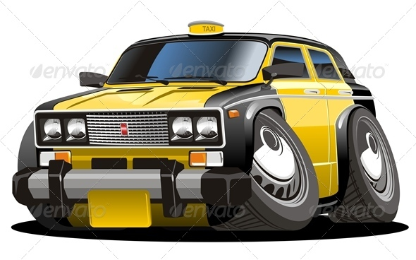 Vector Cartoon Taxi Car - Man-made Objects Objects