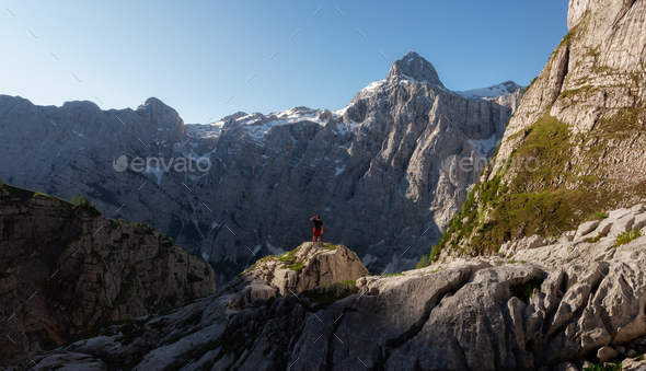 Hiking towards the top of the highest mountain - Stock Photo - Images