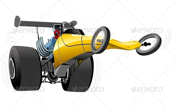 Vector Cartoon Dragster - Man-made Objects Objects