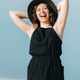 joyous happy girl in a black dress loudly - PhotoDune Item for Sale