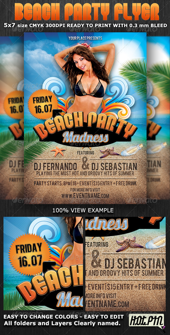 Summer Beach Party Flyer Template By Hotpin | Graphicriver