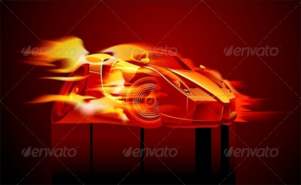 Vector Cartoon Sport Car in Flame - Man-made Objects Objects
