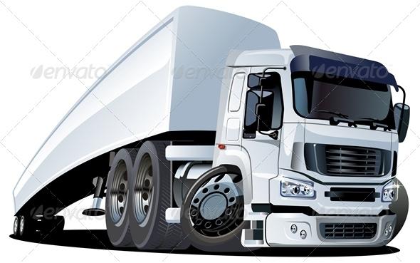 Vector Cartoon Cargo Semi Truck - Man-made Objects Objects
