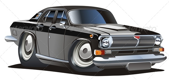 Vector Cartoon Retro Car - Man-made Objects Objects