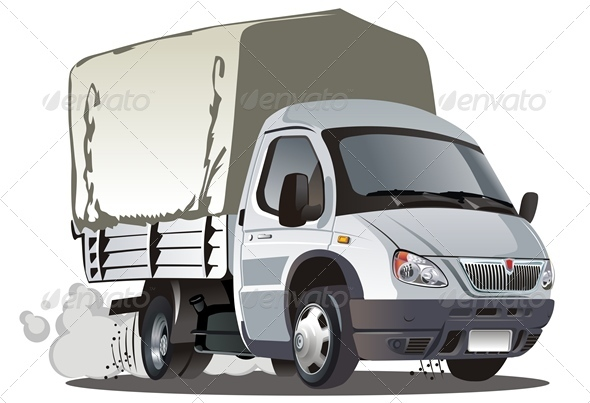 Vector Cartoon Tent Truck - Man-made Objects Objects