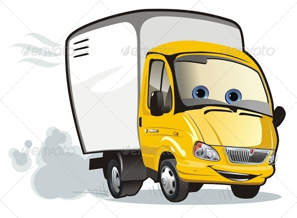 Vector Cartoon Cargo Truck - Characters Vectors