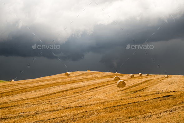 Landscape in Campania (Italy) near Benevento: a storm is coming - Stock Photo - Images