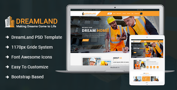 Download Dreamland - Construction PSD Template }}