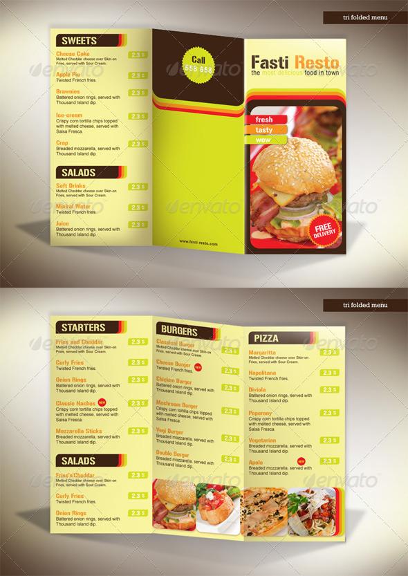 Tri-fold Menu Fasti-Resto - Food Menus Print Templates