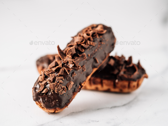 Healthy chocolate eclairs - Stock Photo - Images