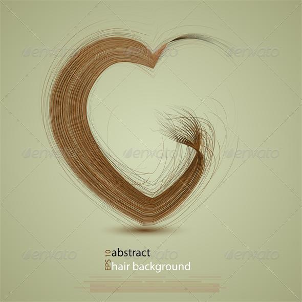 Vector hair in the shape of a heart - Miscellaneous Vectors