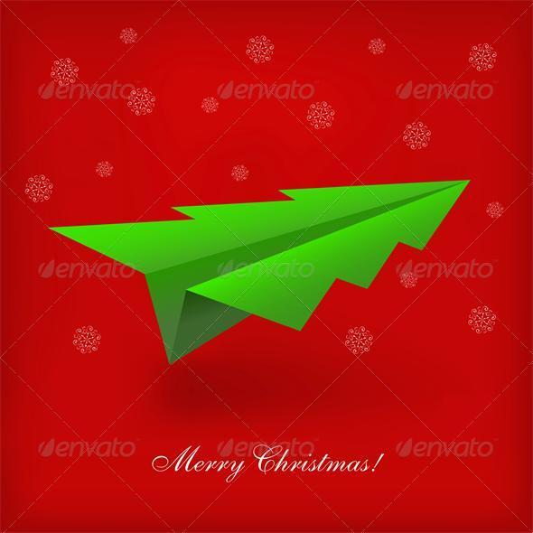 Concept of the Christmas tree and origami airplane - Christmas Seasons/Holidays