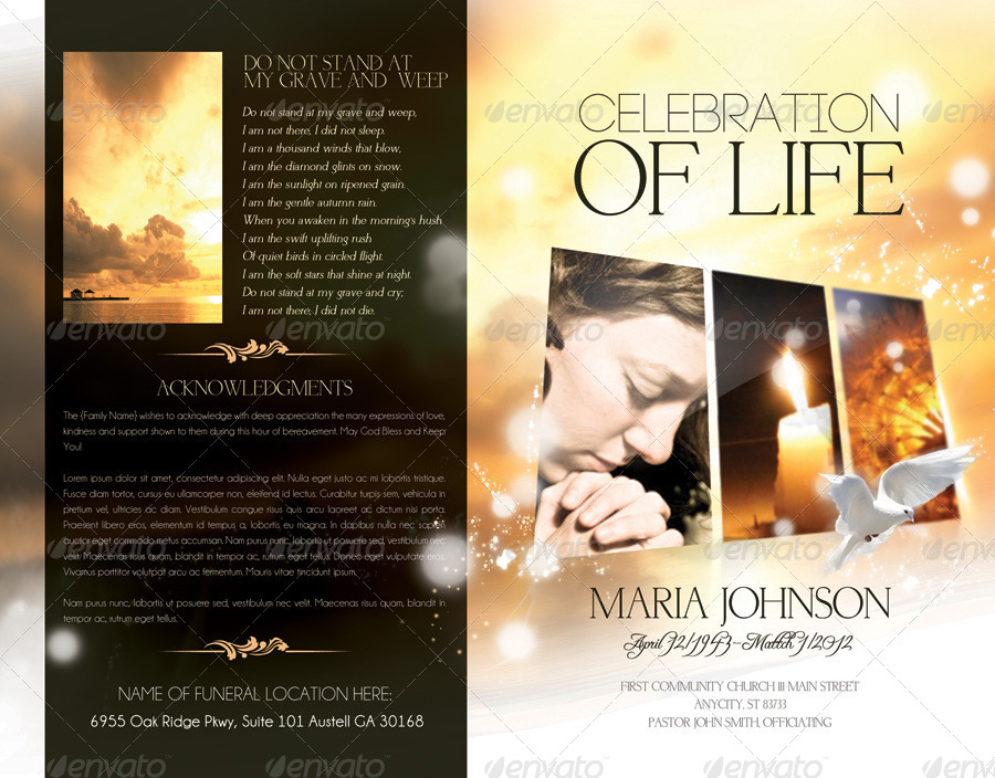 Celebration Of Life - Funeral Program Brochure Template By Webm