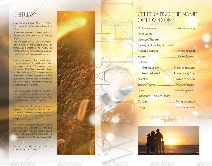 Celebration Of Life Funeral Program Brochure Template By Webm - Celebration of life template
