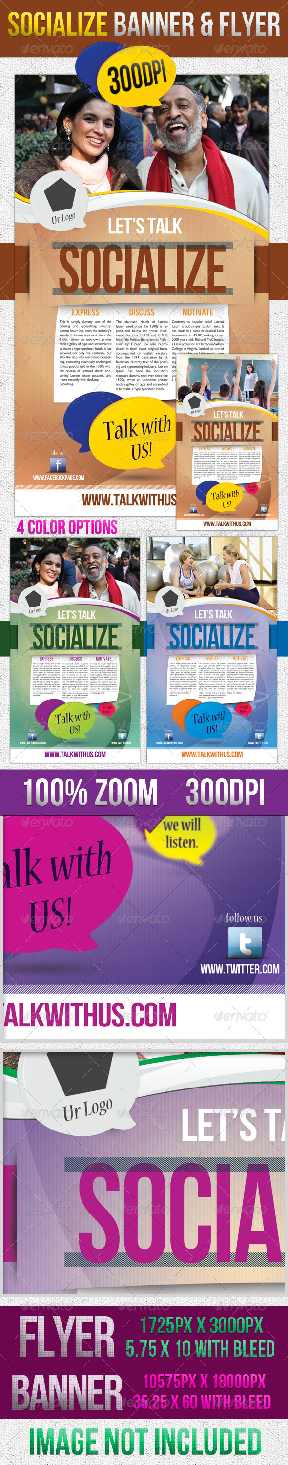 Socialize Corporate Flyer & Banner - Corporate Business Cards