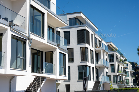 Modern white townhouses - Stock Photo - Images